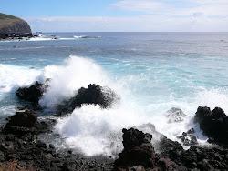 Pounding Surf etches volcanic debris, Hanga Roa, Easter Island