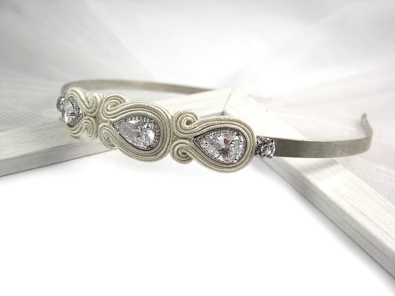 Opaska ślubna sutasz ivory z kryształami Swarovski