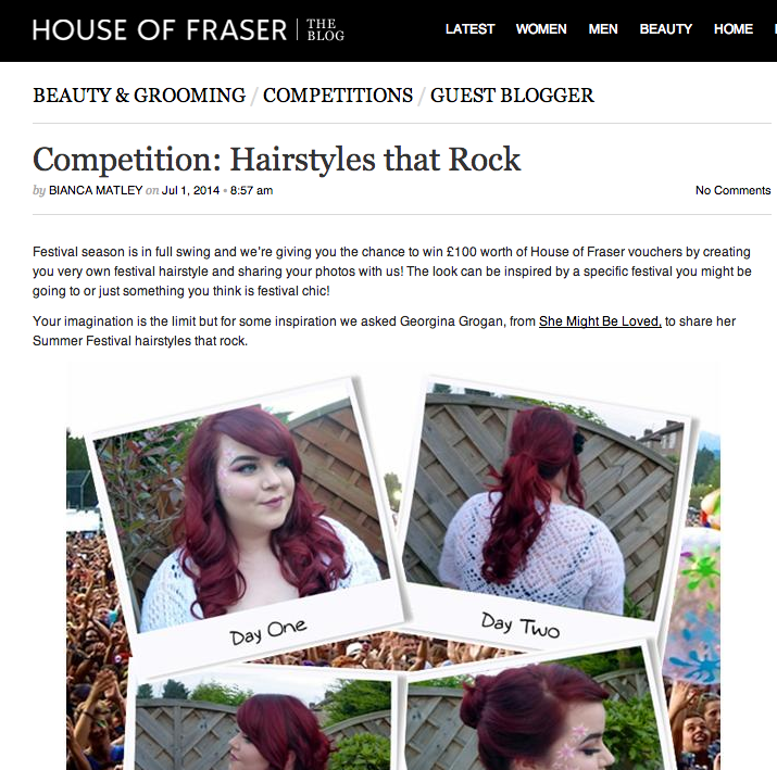 She might Be Loved, hairstyles, house of fraser, Georgina Grogan