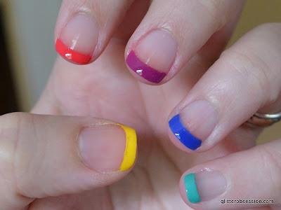 Rainbow French nail art
