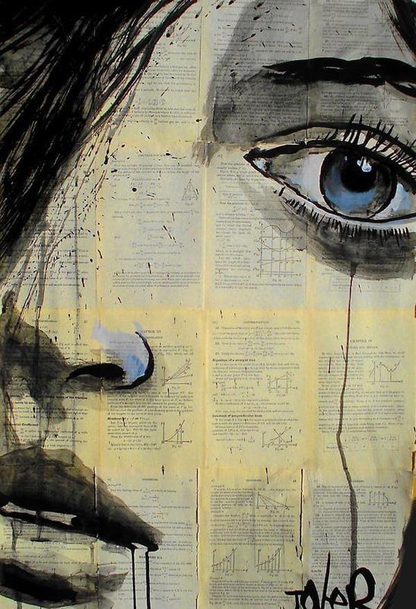Retrato de mujer triste tinta china