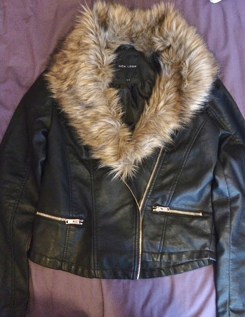 New Look fluffy leather jacket