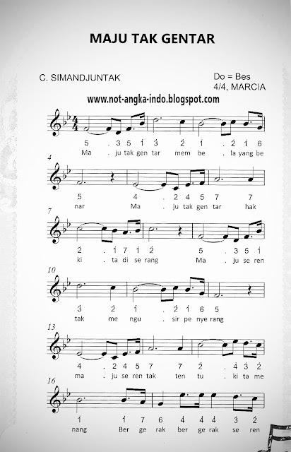 Not Angka Lagu Maju Tak Gentar
