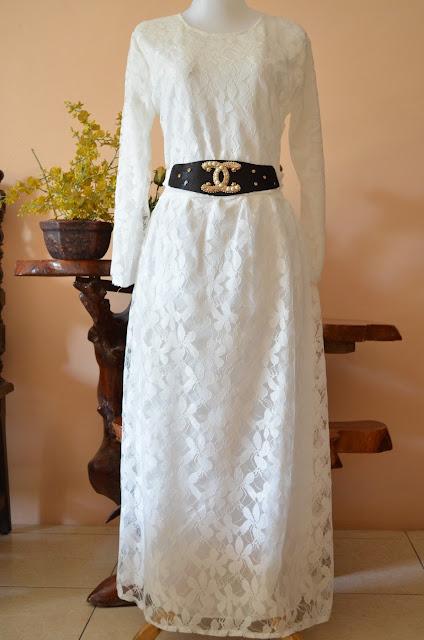 Baju Gamis Brokat Kombinasi Brokat Warna Putih