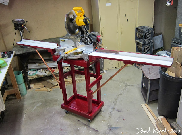 how to build a miter saw stand, wood, easy, strong, folding, space saver
