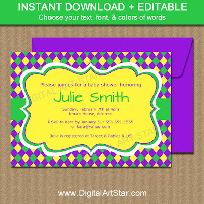 Mardi Gras baby shower invitation template download