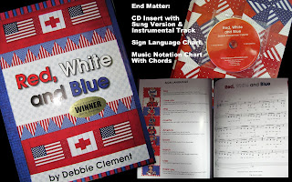 photo of: &quot;Red, White and Blue&quot; Picture Book by Debbie Clement (with CD insert for song of text lyrics)