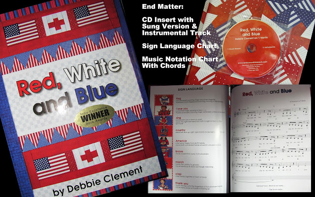 "photo of: ""Red, White and Blue"" picture book by Debbie Clement, based on song by same title"