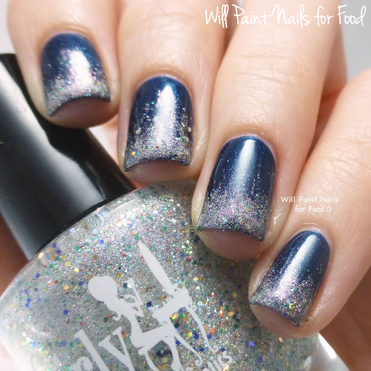 Girly Bits A Twinkle in Time glitter gradient nail art