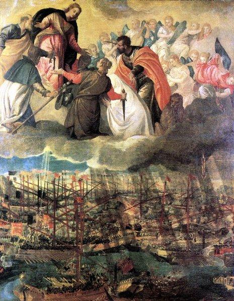 Pintura Batalla de Lepanto de Pablo Veronese y en la cual aparece la Virgen María al lado de los Cristianos