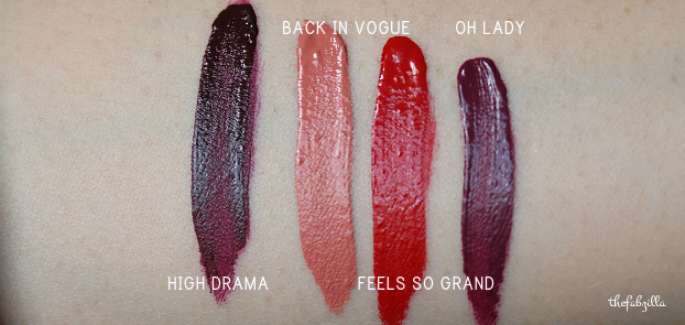 MAC RETRO MATTE LIQUID LIPSTICK, OH LADY, HIGH DRAMA, BACK IN VOGUE, FEELS SO GRAND, REVIEW, SWATCH