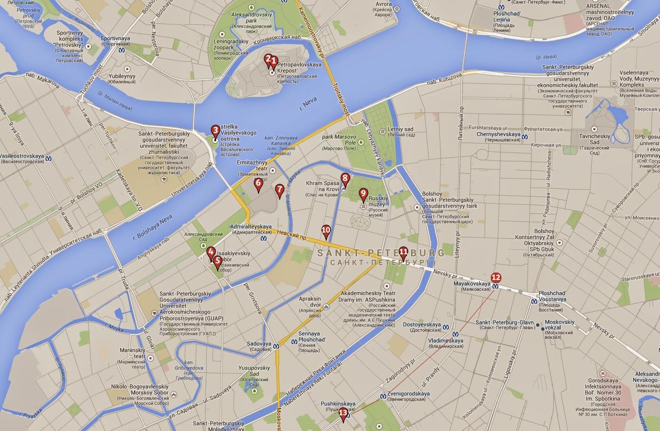 Mapa que ver en San Petersburgo en 2 días