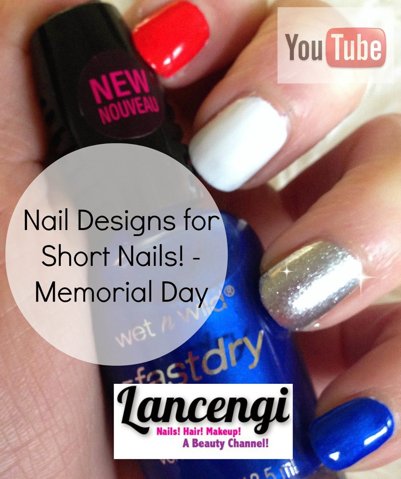 Lancengi Easy Nail Art For Beginners Patriotic Red White Blue