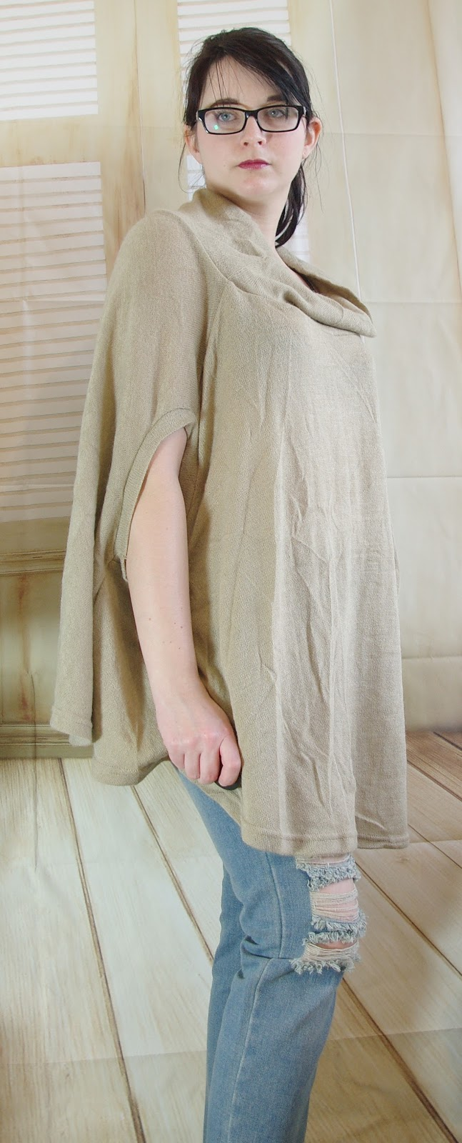 Outfit Boyfriend Jeans Poncho