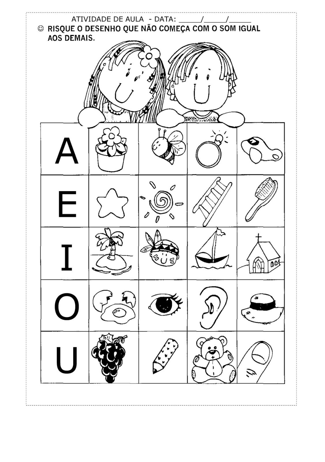 Banco de atividades alfabetiza o som inicial vogais for L practicas