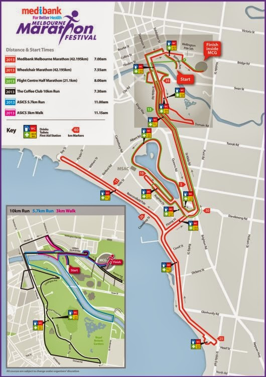 Melbourne Marathon 2013 Course Map