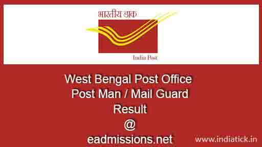 West Bengal Post Office Post Man Result 2015 Mail Guard Merit List / Cut off wbpost.eadmissions.net