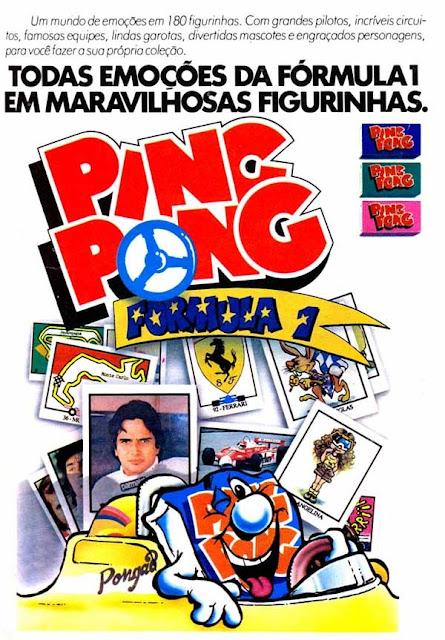 Álbum de Figurinhas do chiclete Ping Pong com pilotos da Fórmula 1, diretamente de 1982.