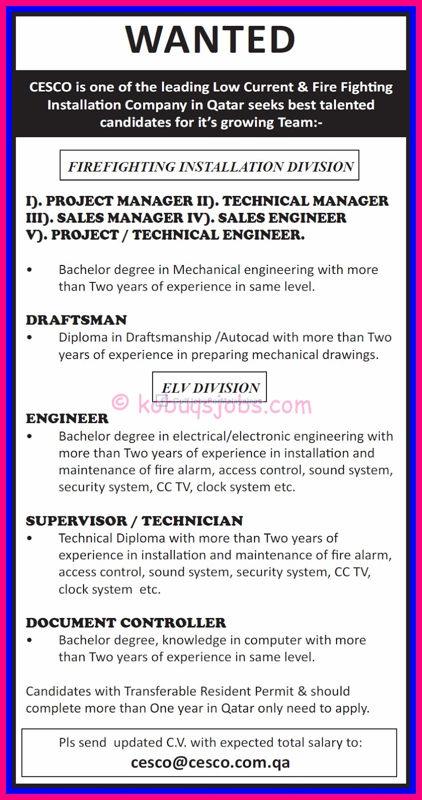 wanted cesco qatar gulf jobs for malayalees wanted cesco qatar engineer document controller