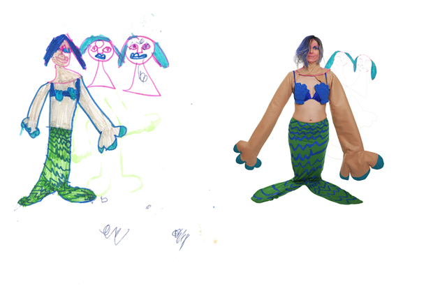 Rose's drawing of a Mermaid on the left hand side and my version of the drawing of the right.