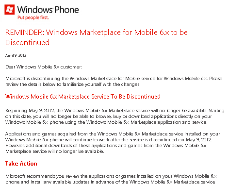 Windows Marketplace be Discontinued