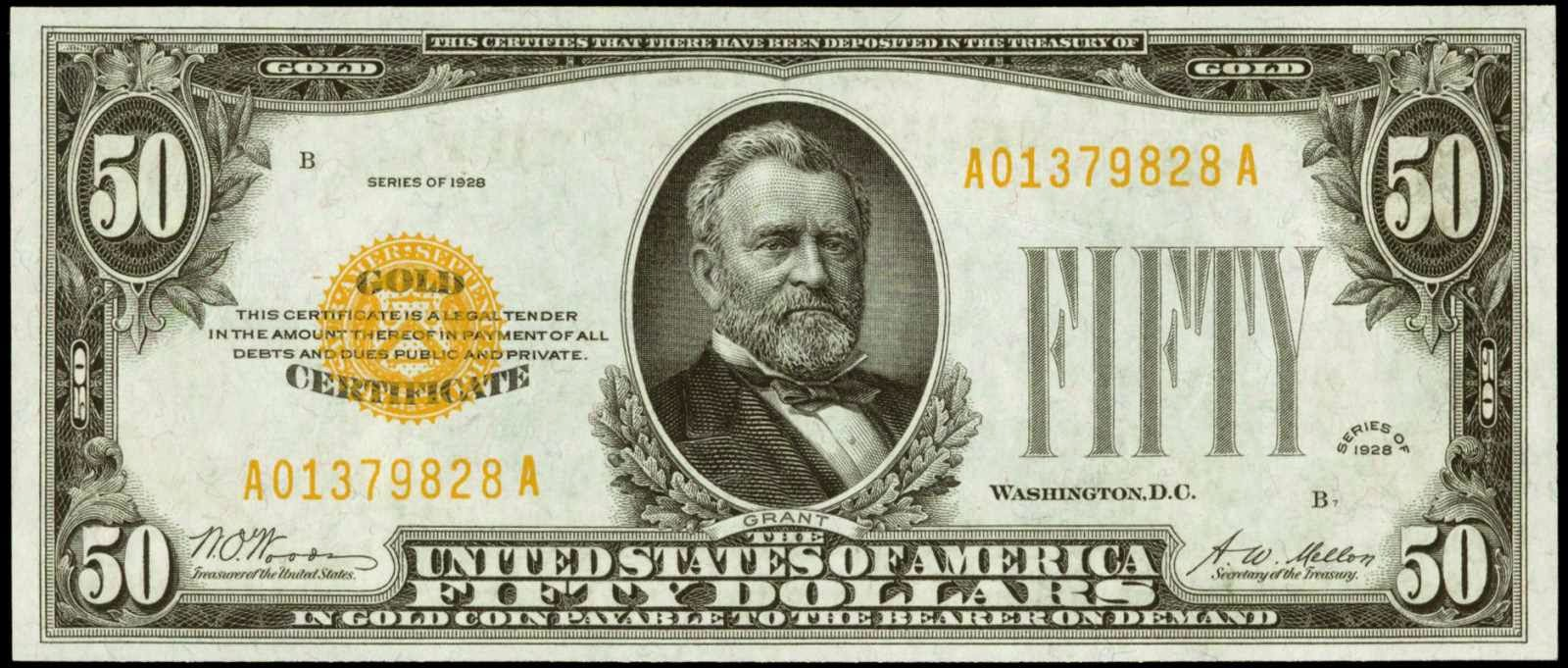 1928 50 Dollar Gold Certificate Small size note Grant