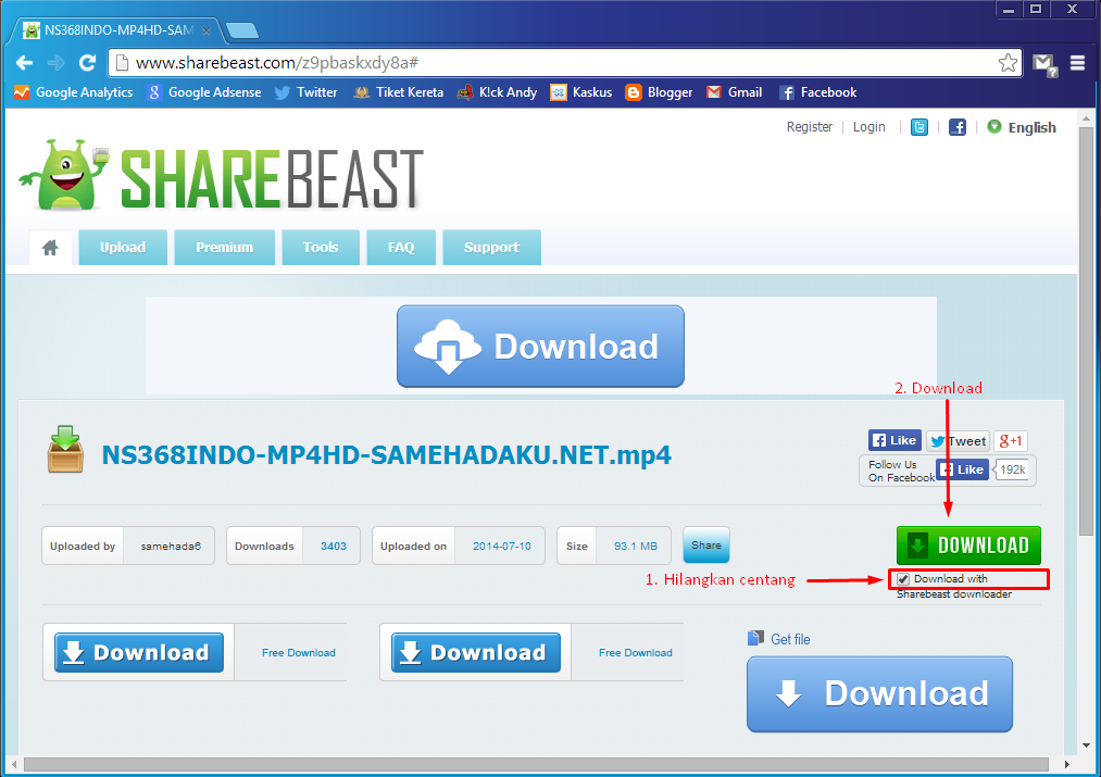 Cara Download File di ShareBeast 2