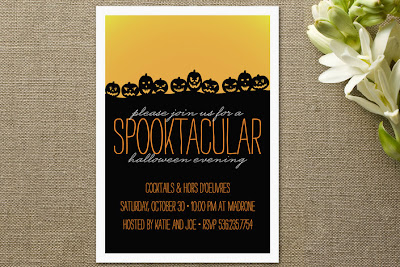 minted spooktacular halloween party invitation pumpkin jack-o-lantern design