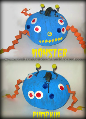 Craft Ideasyear  Boys on Crafts N Things For Children  Painted Monster Pumpkin   Easy Kid S