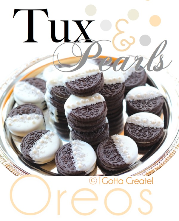 The casual Oreo goes classy!  Tuxedo and Pearls Oreo instructions via I Gotta Create!