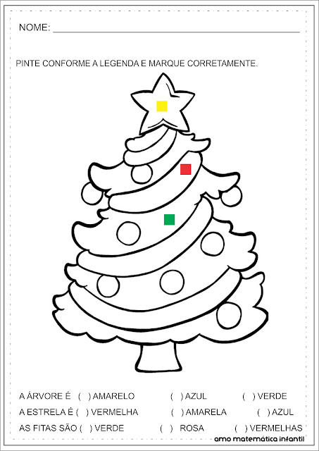 Cores e Pintura Legendada Natal Atividade