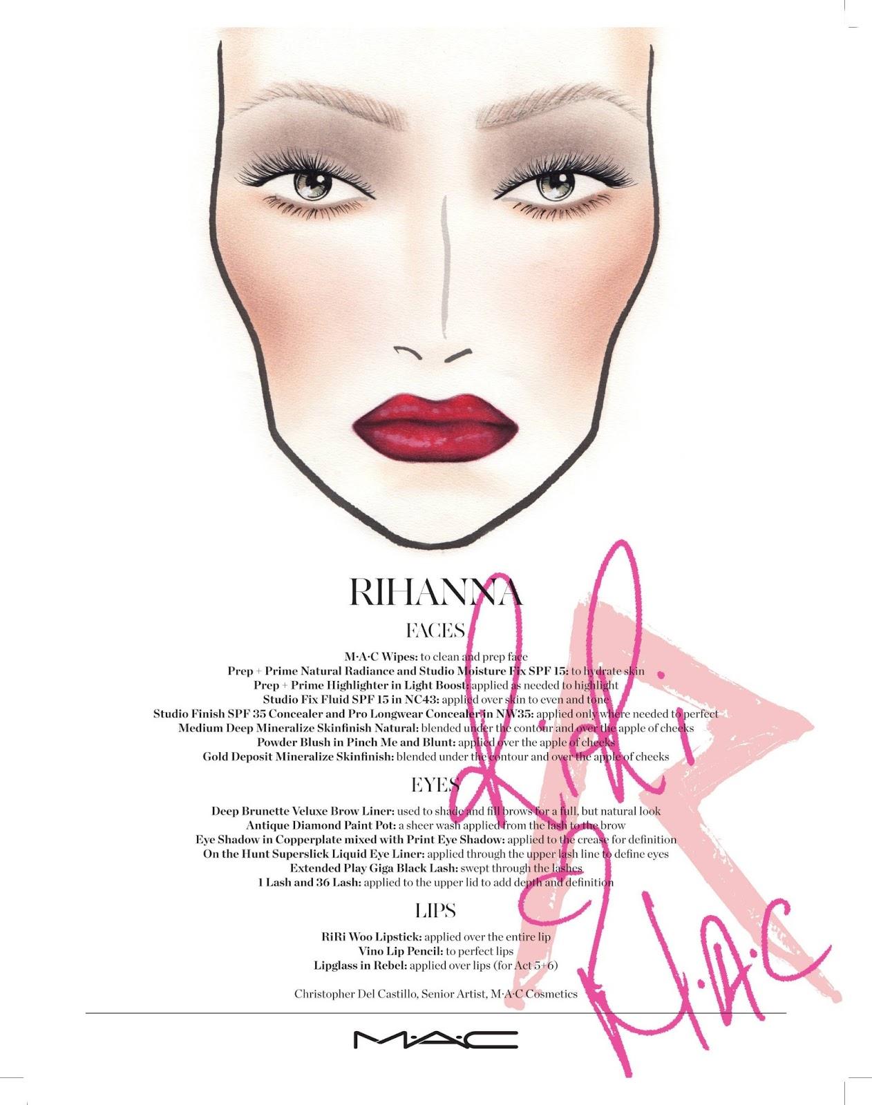 How To Look Like Rihanna Mac Rihanna Face Chart Xoxo Emmy