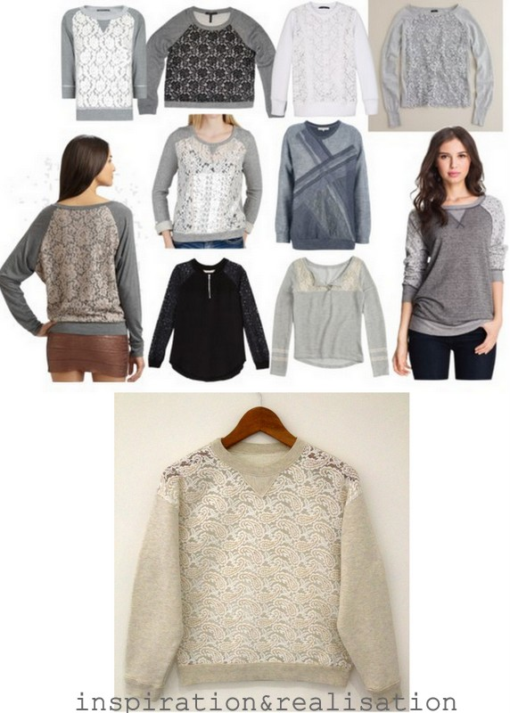 ... and realisation: DIY fashion blog: DIY sweatshirt refashion with lace