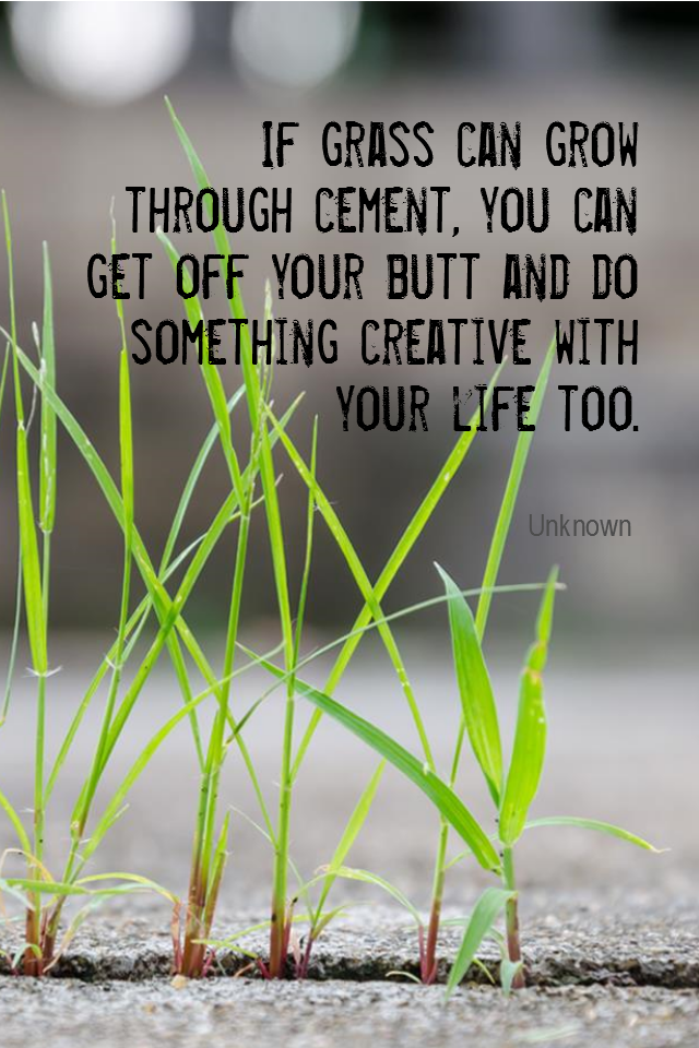 visual quote - image quotation for MOTIVATION - If grass can grow through cement, you can get off your butt and do something creative with your life too. - Unknown