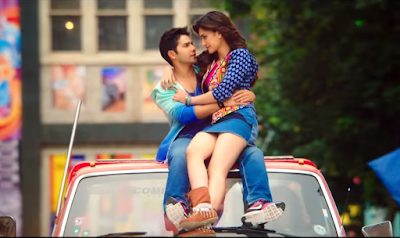 Dilwale Hot Kriti Sanon in Blue Short Mini, Jacket and Blue Top with Brown Shoes
