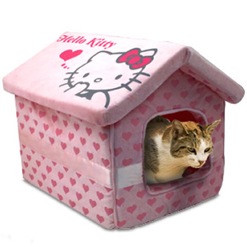 Pet cat in Hello Kitty house