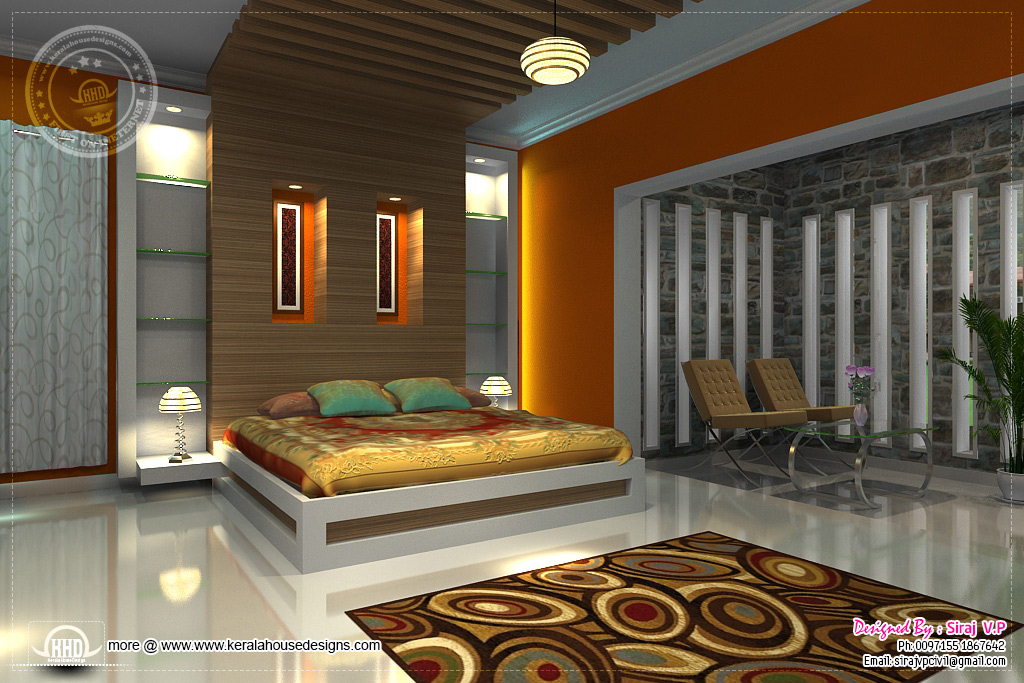 3d renderings of bedroom interior design kerala home Low cost interior design ideas india