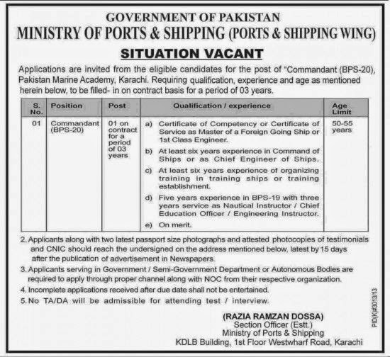 Vacancies in Ministry of Ports and Shipping, Karachi