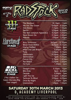 Radstock Festival 2013  Stage Times  O2 Academy Liverpool
