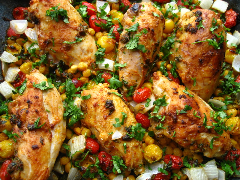 Smoked Paprika Roasted Chicken... with chickpeas, tomatoes and yoghurt ...
