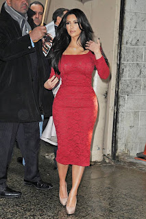 Kim Kardashian red dress in New York