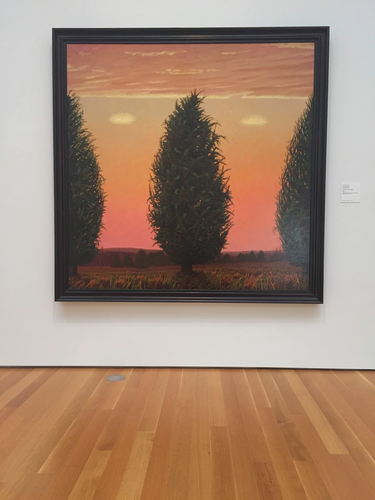 Three Trees Two Clouds, John Beerman, oil on linen, North Carolina Museum of Art, NCMA, Raleigh, North Carolina, things to do in Raleigh, things to go in North Carolina, art, art museum