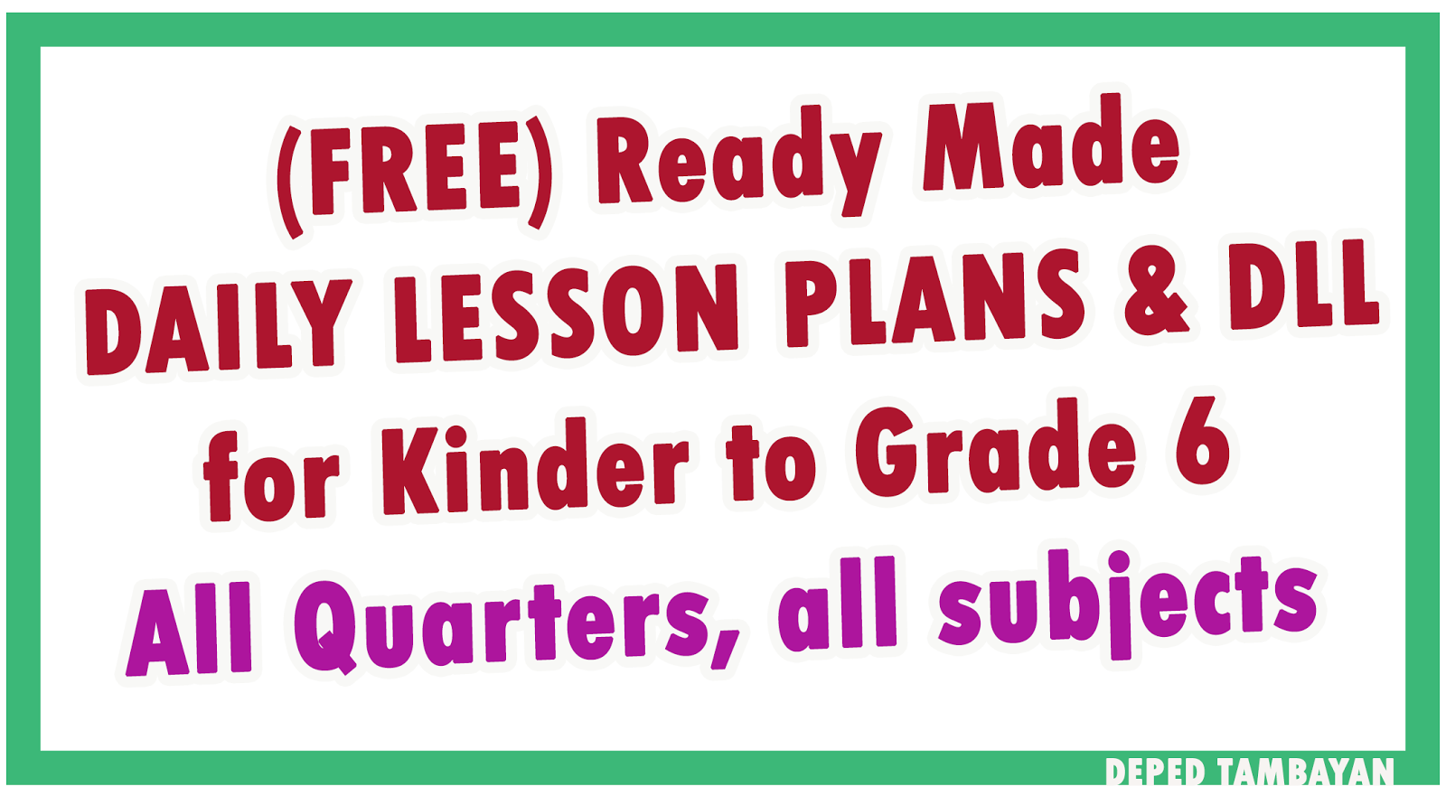 Ready Made Lesson Plan & DLL