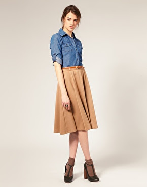 Midi Tailored Flare Skirt