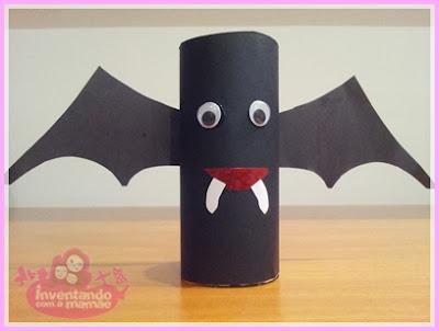 Reciclagem de rolo de papel higiênico morcego