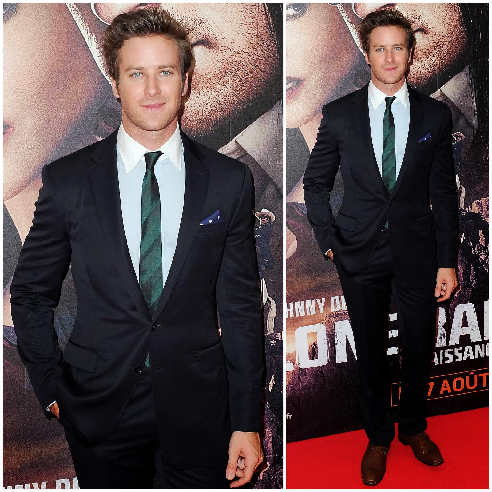 00O00 Menswear Blog: Armie Hammer in Ralph Lauren Black Label - Lone Ranger Paris Premiere
