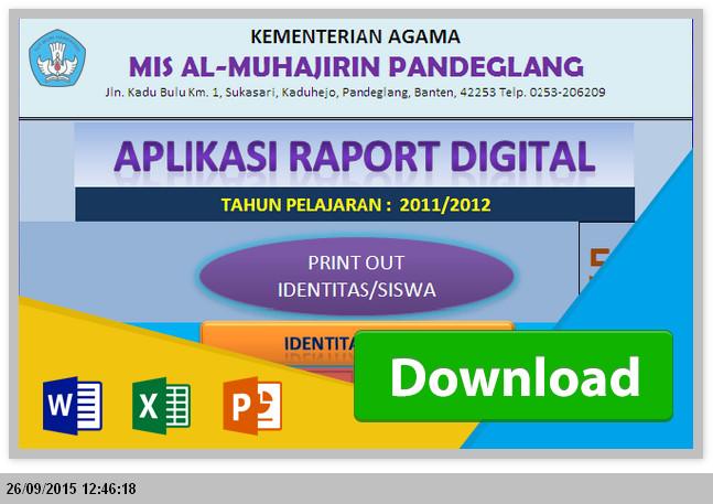 DOWNLOAD GRATIS APLIKASI RAPORT + IDENTITAS SISWA MTS MENGGUNAKAN EXCEL TERBARU 2015