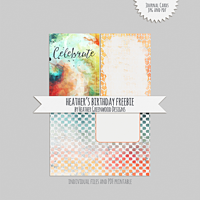 Heather Greenwood Designs | Journal Cards freebie, individual JPGS and printable PDF included.