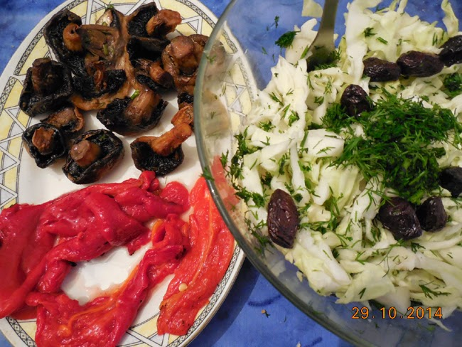 salata de varza si ciuperci sote
