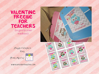 Valentine's Day Freebie www.amodernteacher.com